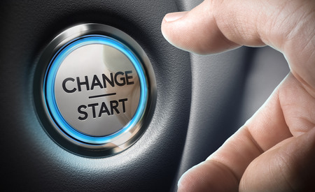 Change start button on a black dashboard background - Conceptual 3D render image with depth of field blur effect dedicated to motivation purpose