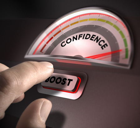 confidence indicator dial, index and boost button over a dark background  Illustration of self-confidence or esteem