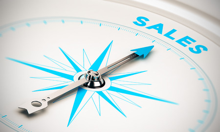 Compass with needle pointing the word sales, white and blue tones. Background image for illustration of sales goals