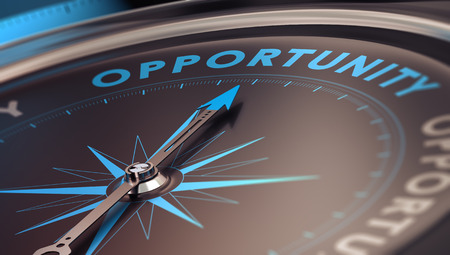 Photo for Compass with needle pointing the word opportunity, concept image to illustrate business opportunities and strategy. - Royalty Free Image
