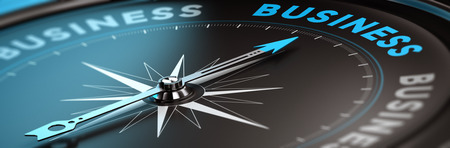 Foto de Conceptual compass with needle pointing the word business, black and blue tones. Concept background image for illustration of business consulting. - Imagen libre de derechos