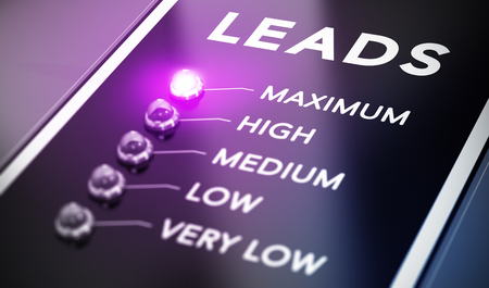 Lead generation concept, Illustration of internet marketing over black background with purple light and blur effect.