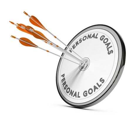 Many arrows hitting the same target Concept image for business personal goals or self confidence coaching.