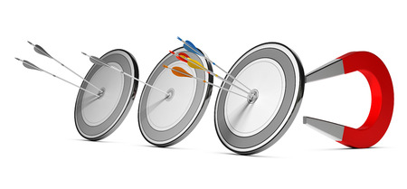 Three targets with many colorfull arrows hitting the first one with a horseshoe magnet at the background. Concept image suitable for marketing purpose and winning new customers illustration.