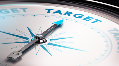 Compass needle pointing the word target, Concept of advertisement or target audience