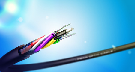 Stripped fiber optic cable over blue background with spot lights, communication network technology.