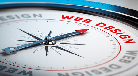 Compass with needle pointing the word web design. Conceptual illustration suitable for a webdesign company or online digital marketing agency.