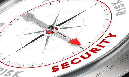 Compass with needle pointing the word ???. Conceptual illustration for security or risk management. Business concept image.