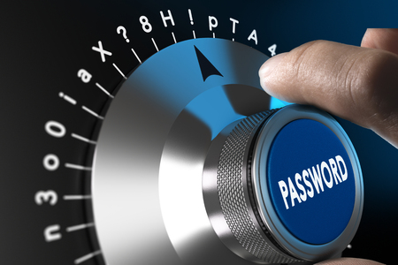 Safe password concept, man hand about to enter a complex passord