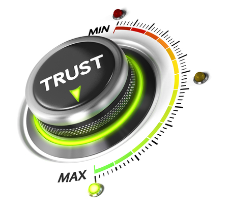 Trust button set on highest position. Concept image for illustration of high confidence level, trusted service or review.