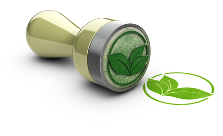 Rubber stamp over white background with leaves symbol printed on it. Concept image for eco friendly communication.