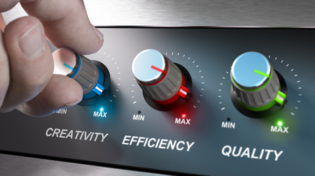 Foto de Hand turning knobs where it is written the words creativity, quality and efficiency. Concept for communication on company values. Composite image between an photography and a 3D background. - Imagen libre de derechos