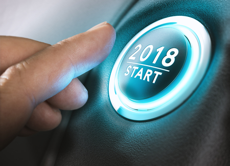 Photo pour Hand pressing a 2018 start button. Concept of new year, two thousand eighteen. Composite between a photography and a 3D background. Horizontal image - image libre de droit