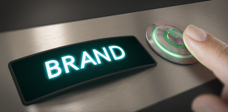 Hand pushing a brand activation button. Composite image between a hand photography and a 3D background.