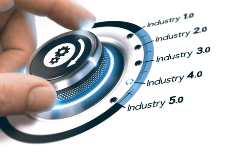 Foto de Hand turning a knob with gears icon over white background. Concept of industrial revolutions steps and industry 4.0. Composite image between a photography and a 3D background. - Imagen libre de derechos