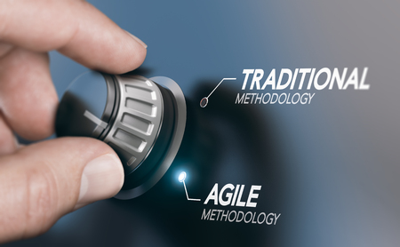 Photo pour Man turning knob to changing project management methodology from traditional to agile PM. Composite image between a hand photography and a 3D background. - image libre de droit