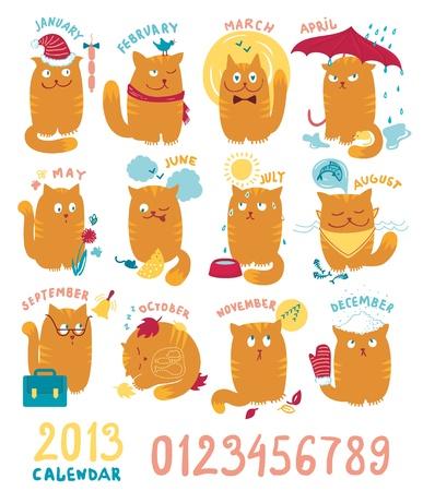 Calendar With Cute Brighrt Cats