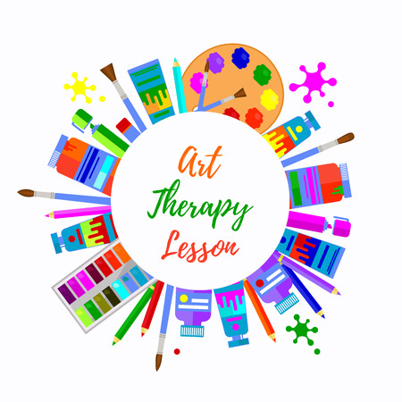 Illustration pour Art therapy round circle border. Colorful text frame with different art tools for painting. - image libre de droit