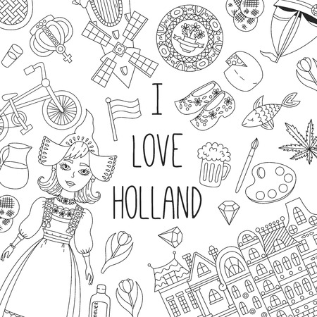 Illustration for Holland Netherlands doodle traditional icons vector set - Royalty Free Image