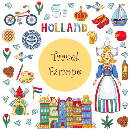 Illustration pour Holland Netherlands icons set vector cartoon banner template - image libre de droit