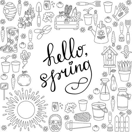 Illustration pour Gardening farming spring doodle icons set round frame design - image libre de droit