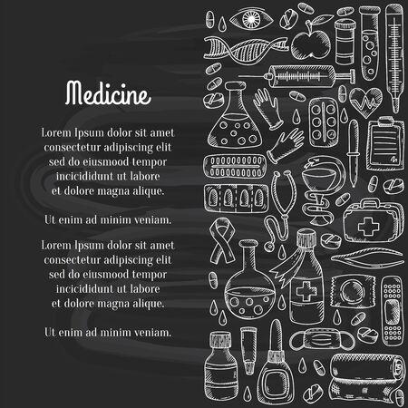Illustration pour Medcine doodle icons decorative row border vector illustration - image libre de droit