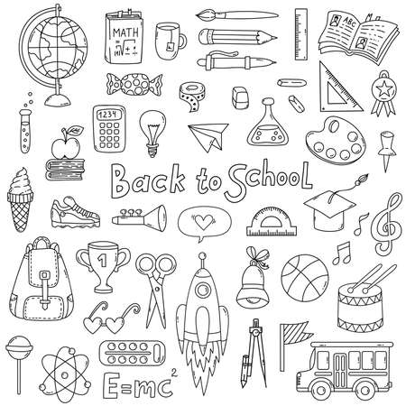 Illustration pour Back to school doodle line icons set - image libre de droit