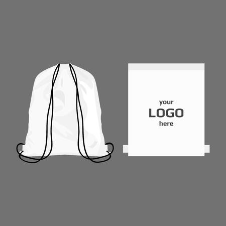Illustration pour Drawstring sport bag white color, place for logo isolated vector - image libre de droit
