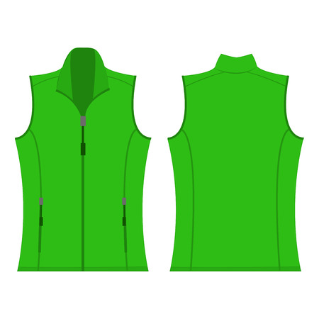 light green color autumn fleece vest isolated vector
