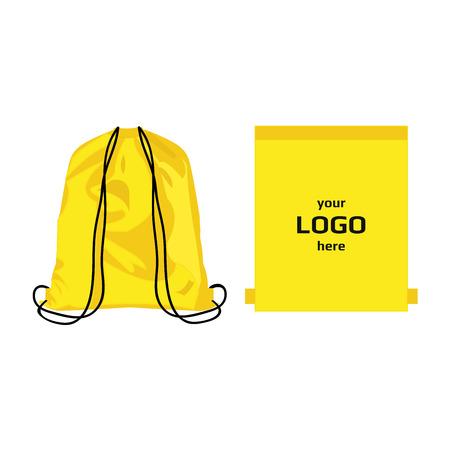 Illustration pour Drawstring sport bag yellow color, place for logo isolated vector - image libre de droit