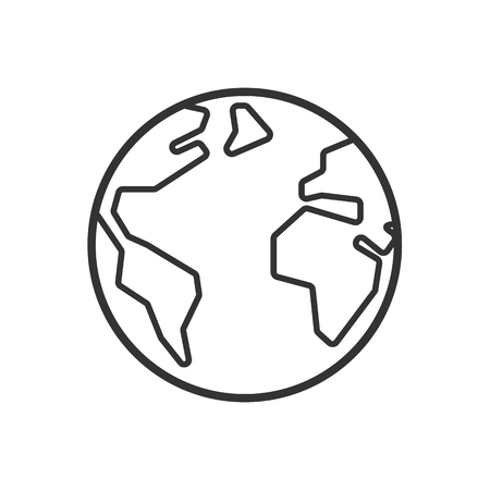Ilustración de Black isolated outline icon of globe on white background. Line Icon of earth - Imagen libre de derechos