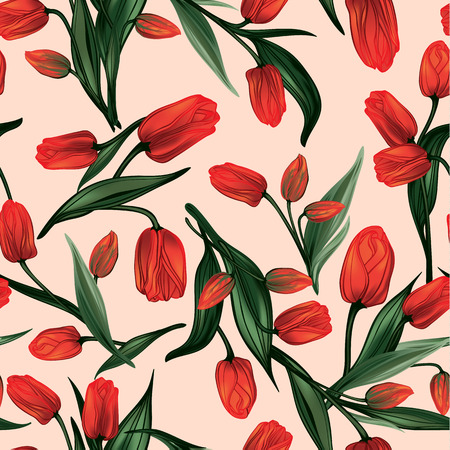 Illustration pour Seamless floral pattern with of red tulips - image libre de droit