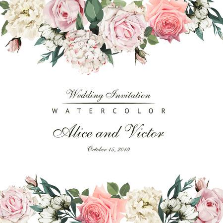 Ilustración de Greeting card with flowers. Vector - Imagen libre de derechos