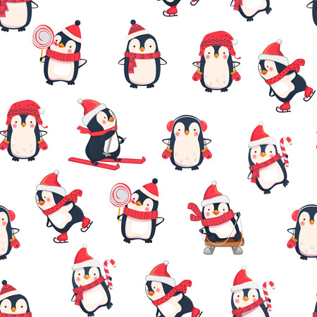 Illustration pour Seamless pattern with penguins. Cute penguin cartoon illustration. Animals pattern. Leisure activities in winter. - image libre de droit