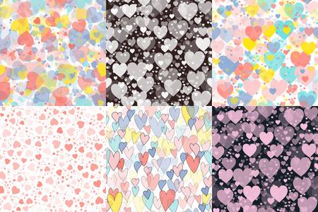 Hearts set illustration pattern design.