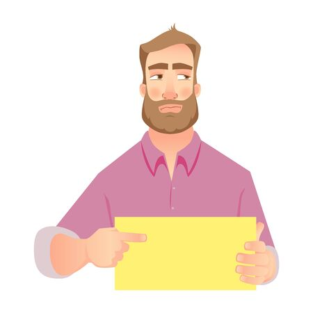 man holding blank paper. Insulted businessman points to banner.  illustration set