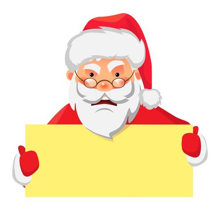 Illustrazione per Santa Claus holding banner. Santa Claus holding blank sign vector illustration - Immagini Royalty Free