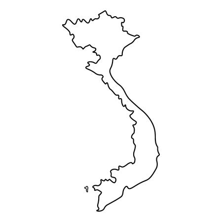 Illustration pour Map of Vietnam - outline. Silhouette of Vietnam map vector illustration - image libre de droit