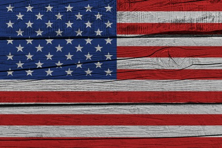 Photo pour United States of America flag painted on old wood plank. Patriotic background. National flag of United States of America - image libre de droit
