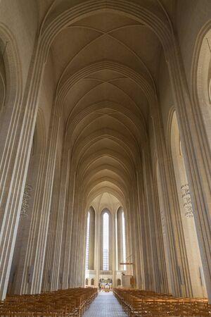 Copenhagen, Denmark - April 09, 2016: Interior shot of Grundtvigs Church.