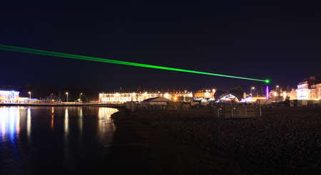 Lazer show over weymouth seafront a feature built for the 2012 olympics