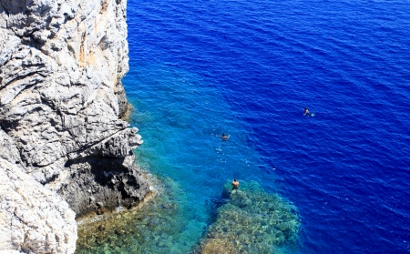 Crystal clear waters near Anthony Quinn Bay in Rhodes Greece