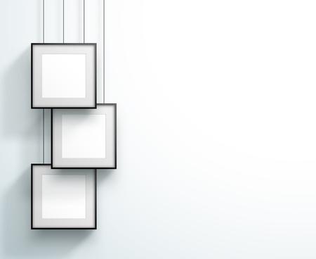 Photo Frame 3 Set Hanging Overlapping Square Design