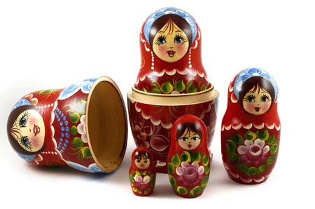 Photo pour five traditional Russian matryoshka dolls on white background - image libre de droit