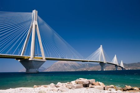 suspension bridge crossing Corinth Gulf strait, Greece.  Is the world's second longest cable-stayed bridge;