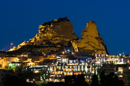 night view of the village and castle of Uchisar in Cappadocia, Turkey