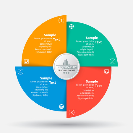 Ilustración de vector abstract 3d paper infographic elements.Circular infographics - Imagen libre de derechos