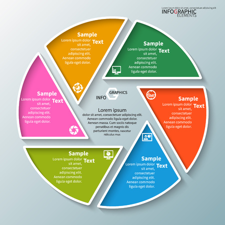 Illustration for vector abstract 3d paper infographic elements.Circular infographics - Royalty Free Image