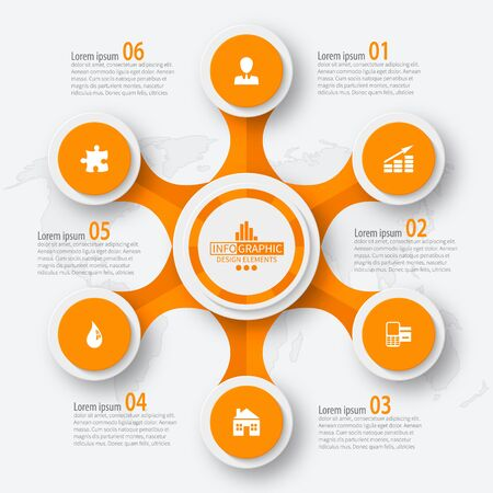 Illustration pour vector abstract 3d paper infographic elements.Circular infographics - image libre de droit