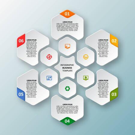 Illustration pour vector abstract 3d paper infographic elements.Hexagon infographics.Honeycomb design - image libre de droit